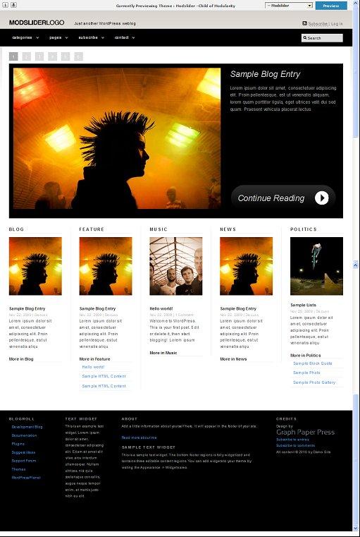 Modslider WordPress theme