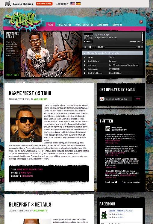 Gorilla Themes Tribal Music Theme WordPress Theme