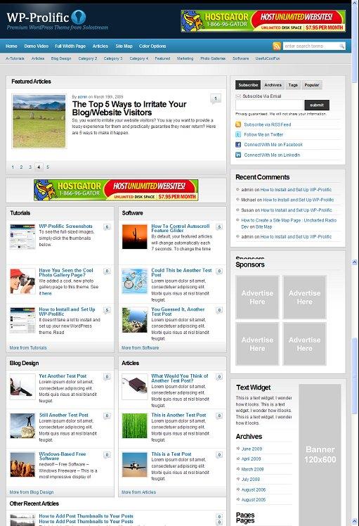 SoloStream WP-Prolific WordPress Theme