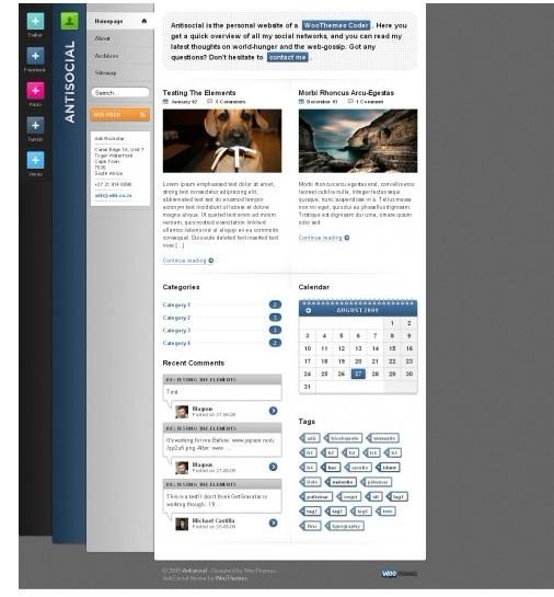 WooTheme Antisocial Premium Personal WordPress Themes