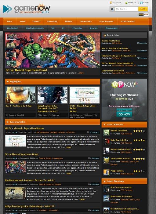 WPNow GameNow Theme