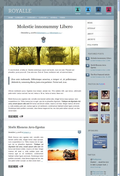 WooThemes Royalle Premium Personal Blog WordPress Theme