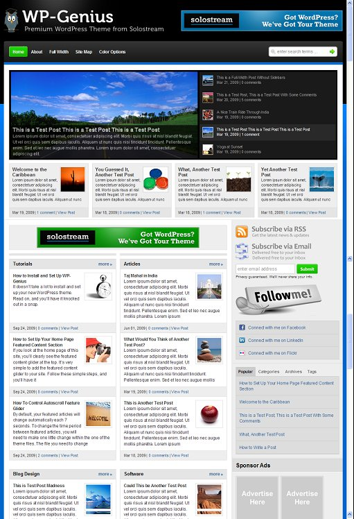 Solostream WP-Genius Premium Magazine WordPress Theme