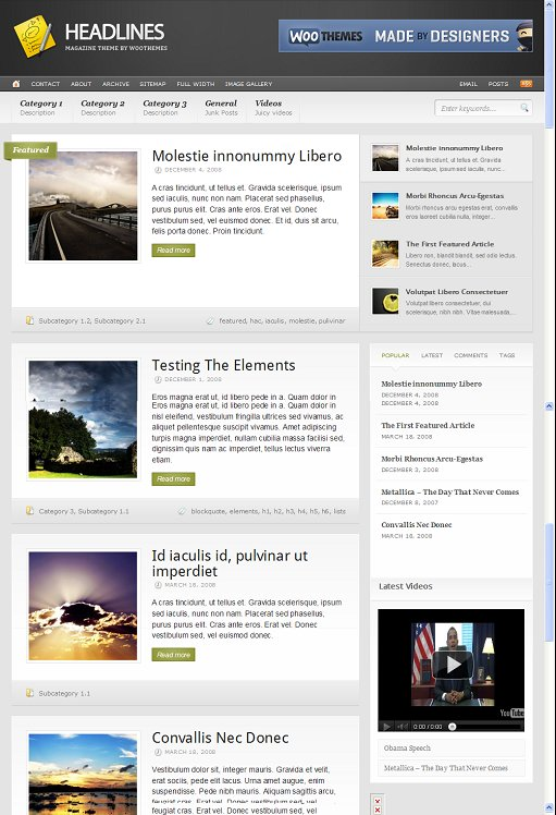 WooThemes Headlines Premium Magazine WordPress Theme