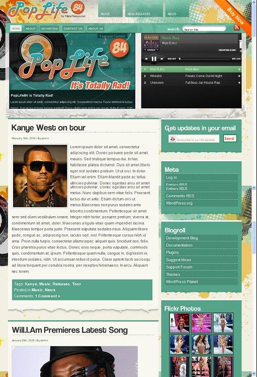 PopLife84 music WordPress Theme