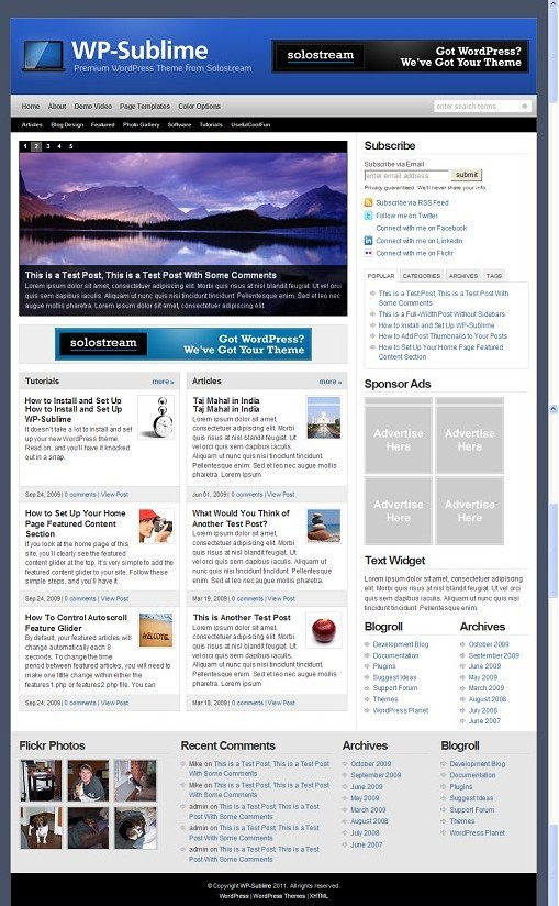 Solostream WP-Sublime WordPress theme