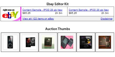 Auction Thumbs Ebay Affiliate Revenue Plugin