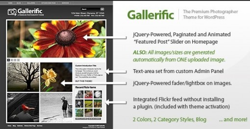 Gallerific Photography WordPress Theme