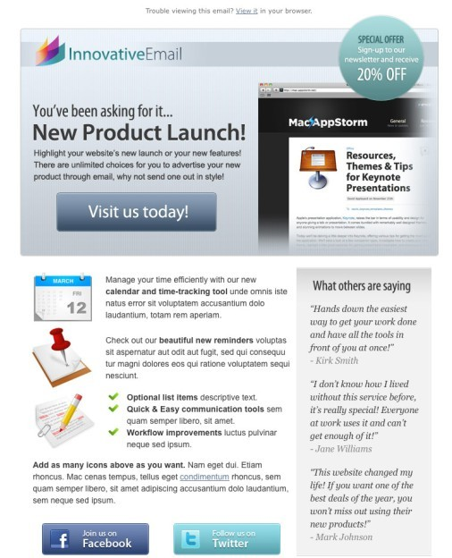 Innovative Product Email Template