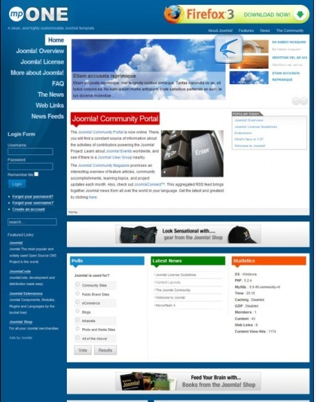 mpONE Joomla 1.5 Native Template