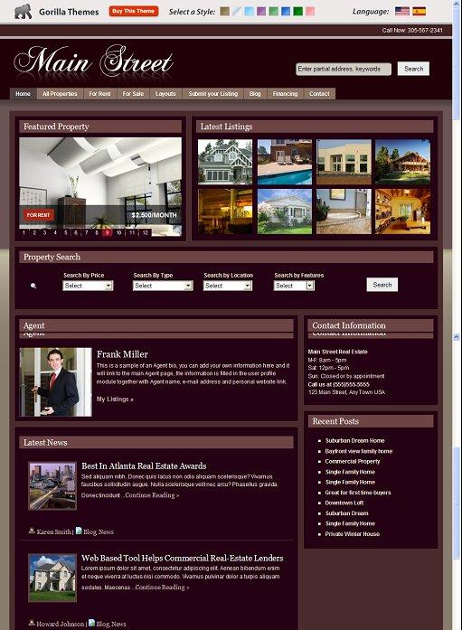 Gorilla Themes Main Street Real Estate WordPress Theme
