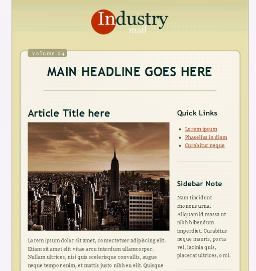 Industry Email Template