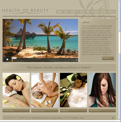 Organic Health and Beauty WordPress Theme