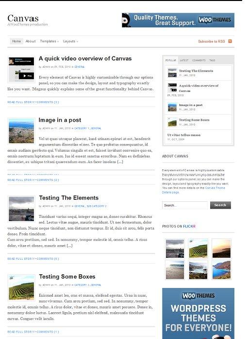 WooThemes Canvas WordPress Personal Blog Theme