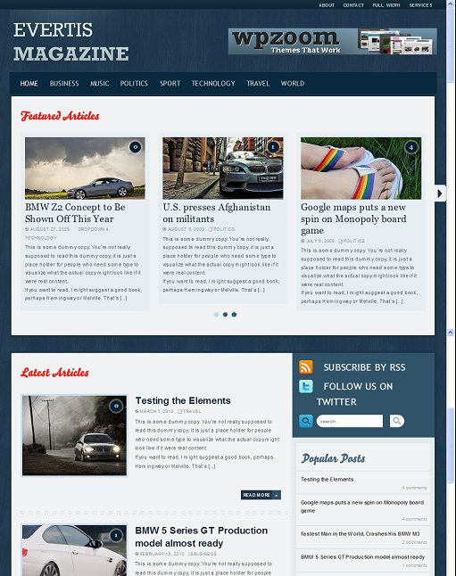 Wpzoom Evertis Magazine wordpress theme