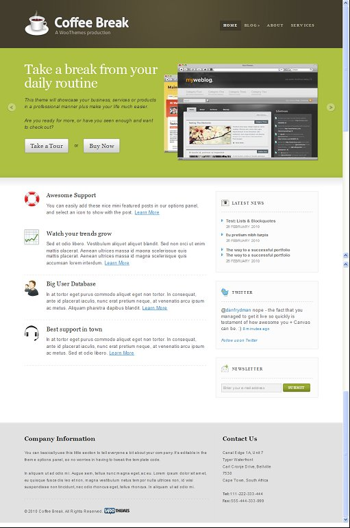 WooThemes Coffee Break WordPress theme