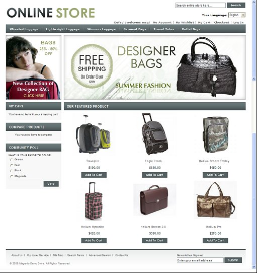 Luggage Store Magento Theme