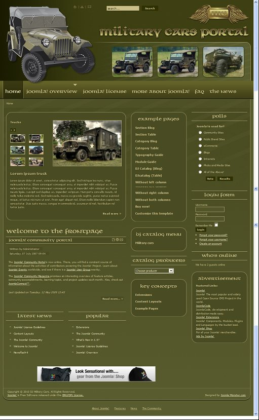 DJ Military Cars Joomla Template
