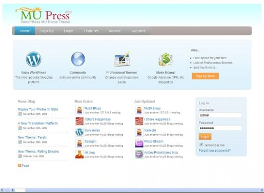 MU Press: WordPress MU Home Theme