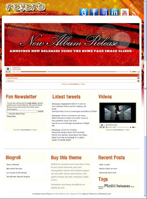 Reverb Music WordPress Theme
