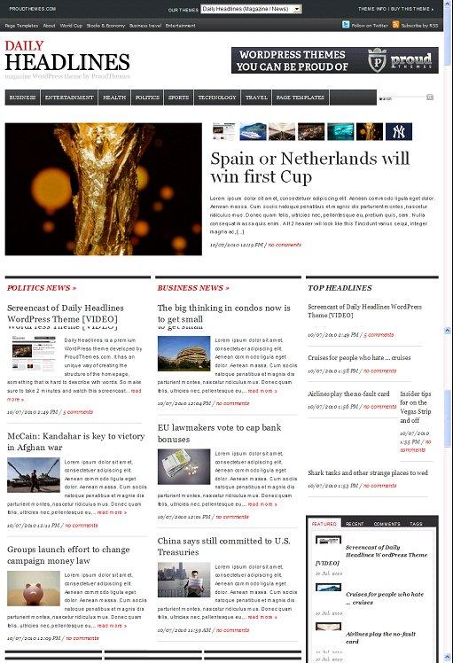 Daily Headlines wordpress theme