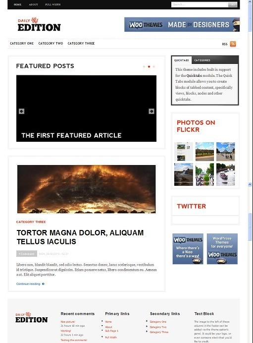 Woothemes Daily Edition Drupal Theme