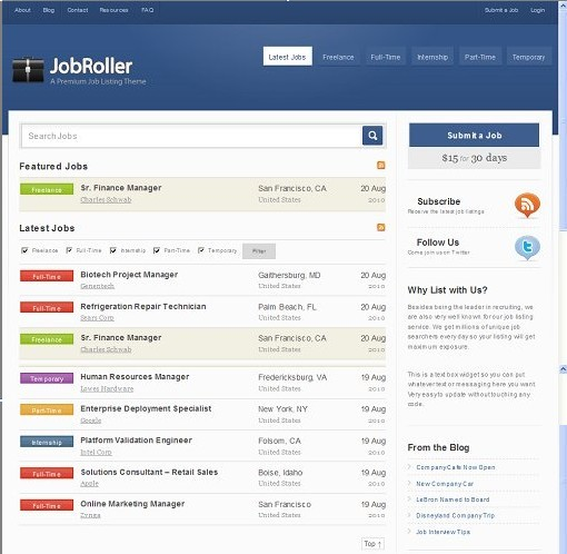 JobRoller WordPress Job Listing Theme