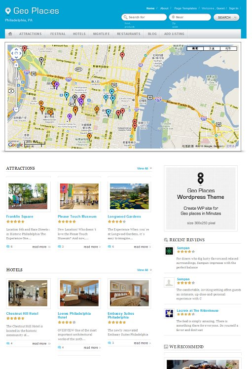 Templatic Geo Places WordPress theme
