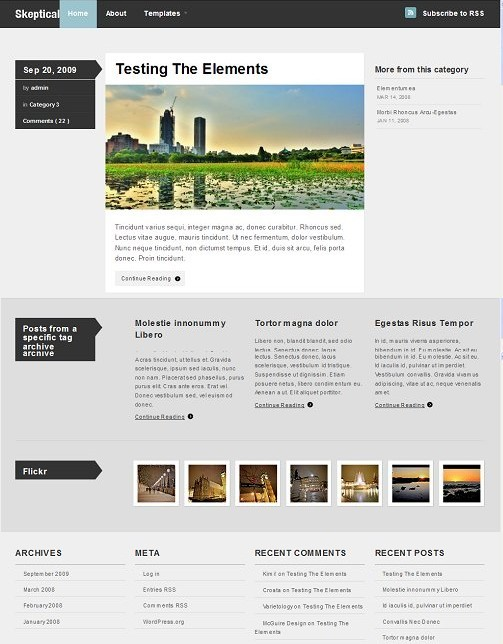 Woothemes Skeptical free wordpress theme