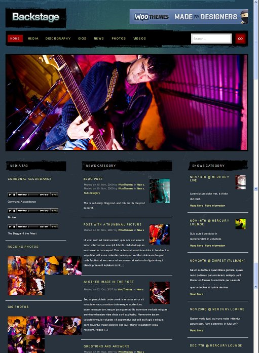 WooThemes Backstage Music Theme