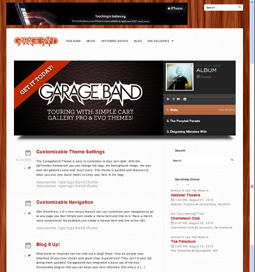 Garage Band WordPress Theme