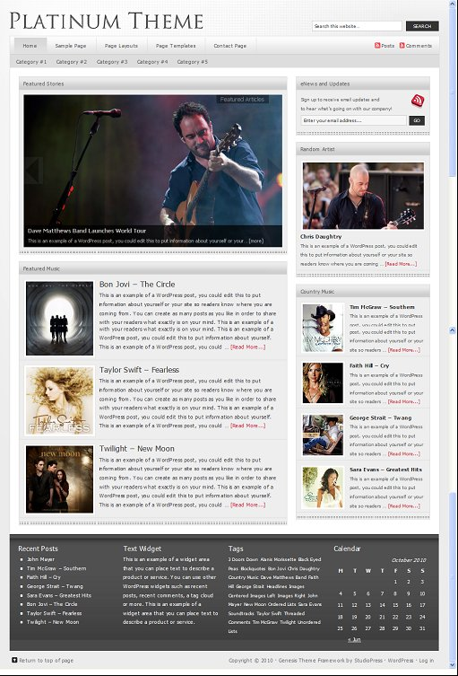 Platinum Child WordPress Music Theme