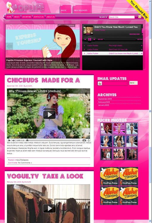 PopLife Princess Music WordPress Theme