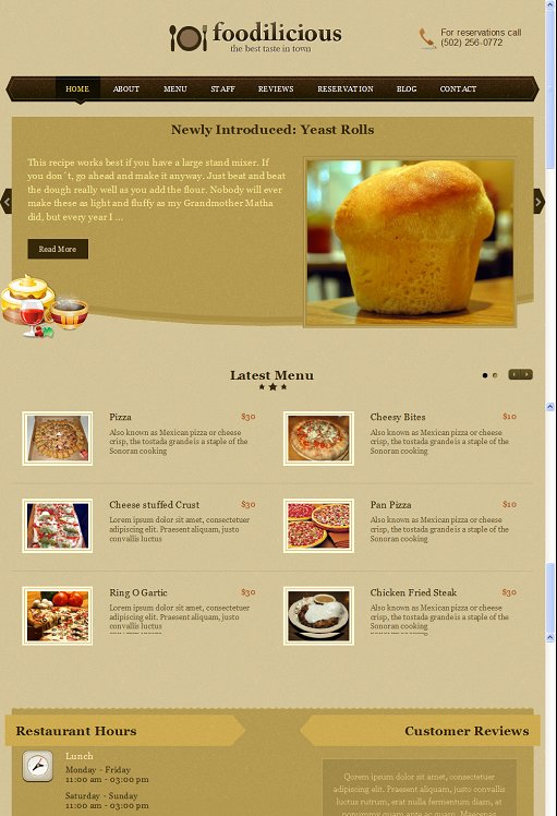 Templatic Foodilicious Cafe Business WordPress Theme