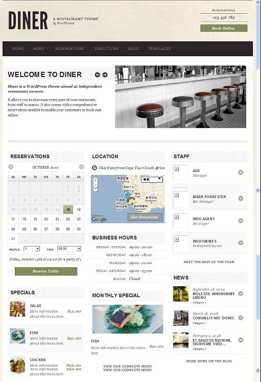 WooThemes Diner wordpress theme