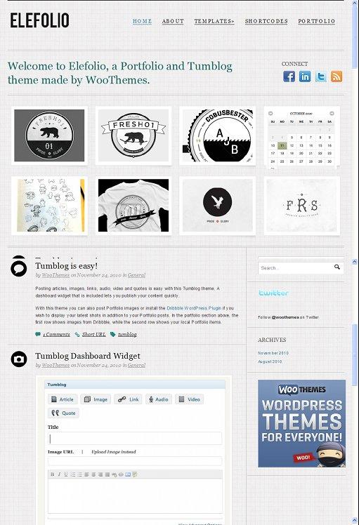 WooThemes Elefolio Tumblog WordPress Theme