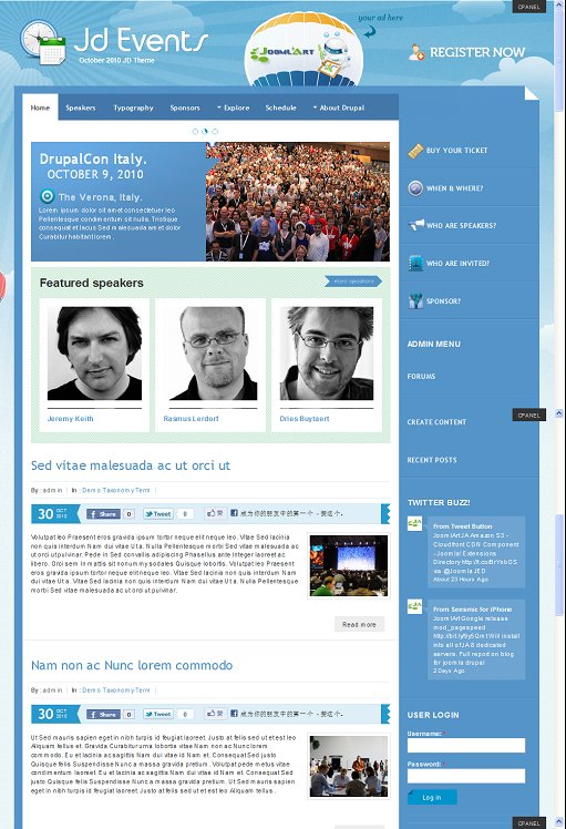 JoomlArt JD Events Prewmium Drupal Theme