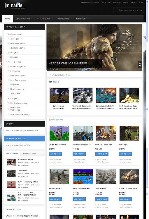 JM Natris Game Shop Magento Theme
