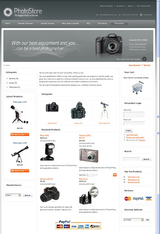 DJ-Photostore Joomla VirtueMart Store Template