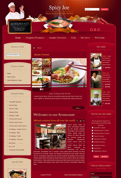 JM Spicy Joe Joomla Cafe & Restaurant Template