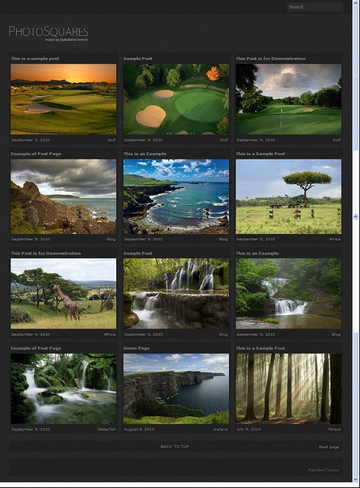 Photo Squares Theme : WordPress Photography Theme