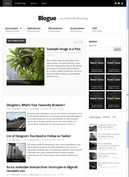 Blogue WordPress Minimalist Personal Theme Warrior