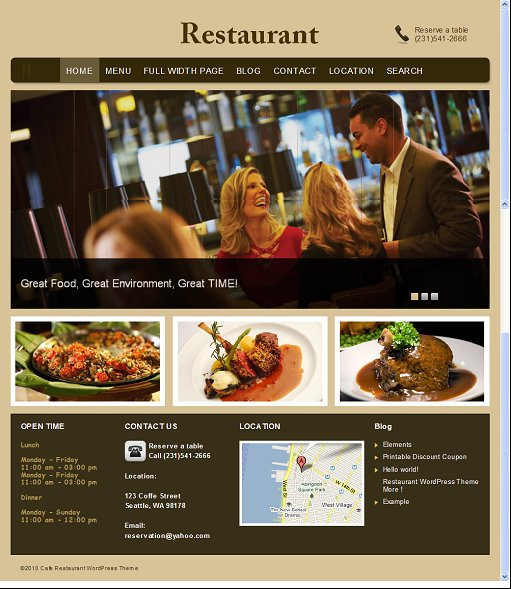Clover Themes Restaurant WordPress Cafe Theme