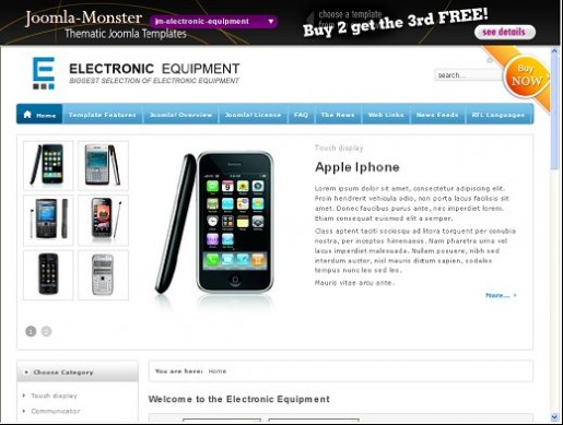 JM Electronic Equipment Store Joomla Ecommerce Template