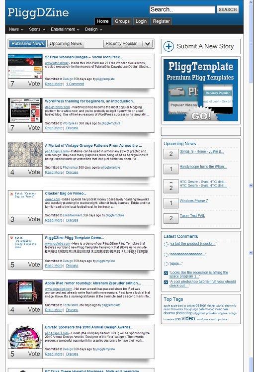 IceThemes PliggDZine Pligg Template