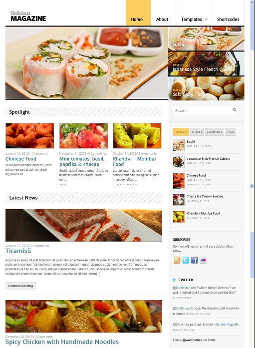 WooThemes Delicious Magazin Restaurant Theme