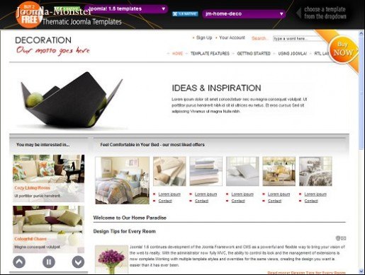 JM Home Deco Joomla 1.6 Furniture Template