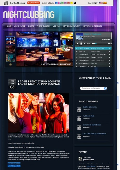 Gorilla Night Club WordPress Theme