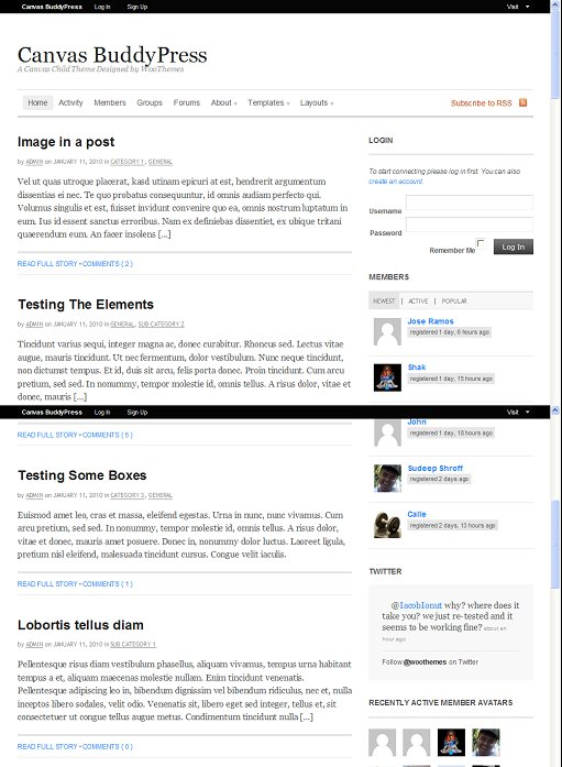 WooThemes Canvas BuddyPress Theme