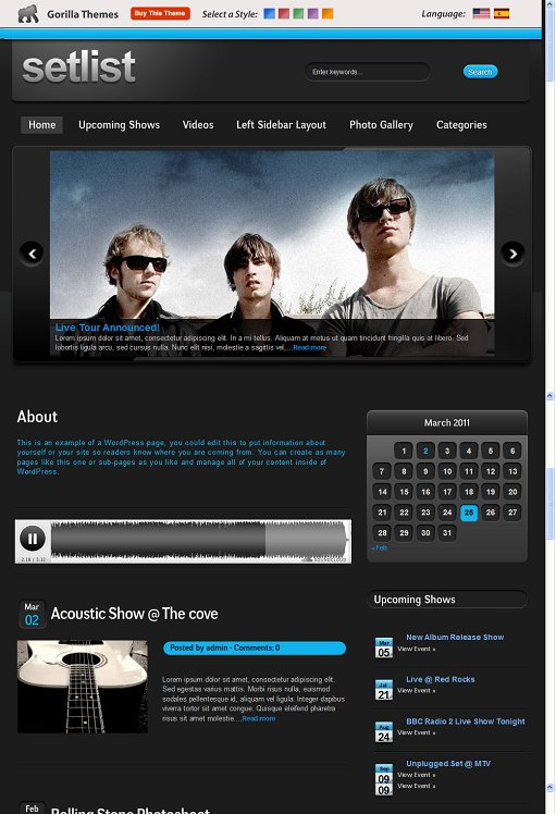 Gorilla Setlist Music WordPress Theme